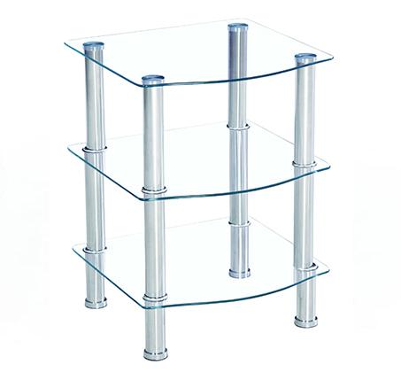 שולחן צד תלת קומתי מזכוכית דגם רימני