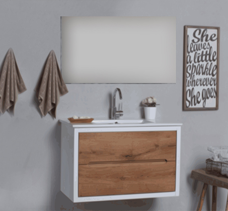 האחרון ארון אמבטיה תלוי עם חיפוי מגירות מעץ מלא בסגנון מודרני כפרי וידיות QI-16