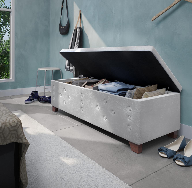 הדום מעוצב עשוי עץ בריפוד בד קטיפה בעל חלל לאחסון לחדר השינה או לסלון - תמונה 4