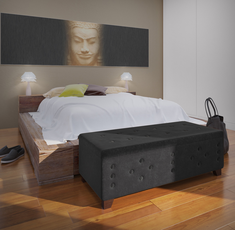הדום מעוצב עשוי עץ בריפוד בד קטיפה בעל חלל לאחסון לחדר השינה או לסלון - תמונה 2