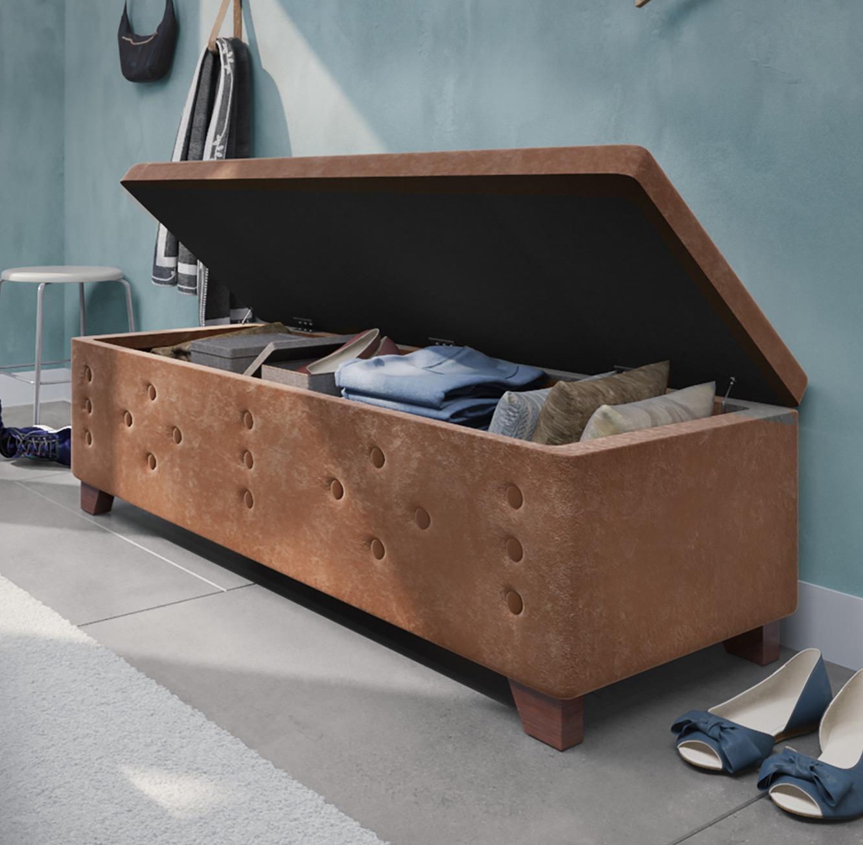 הדום מעוצב עשוי עץ בריפוד בד קטיפה בעל חלל לאחסון לחדר השינה או לסלון - תמונה 3