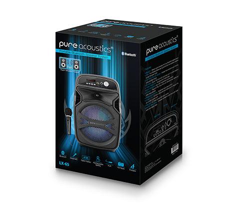 בידורית קריוקי אלחוטית עם TWS רמקול BT נייד עם תאורת דיסקו ומיקרופון חוטי Pure Acoustics דגם LX-65 - משלוח חינם - תמונה 4