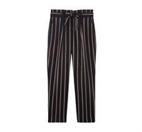 מכנסיים עם קשירה והדפס פסים PROMOD לנשים - כחול נייבי/בז'