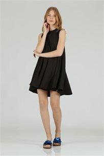 שמלה מיני סאטן גומי שחור