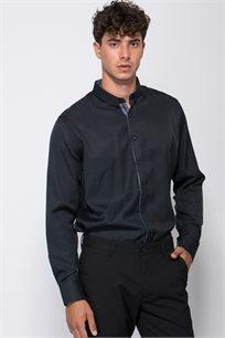 חולצת אריג ז'קארד נקודות צבע קונטרסטי
