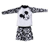 סט בגד ים שרוול ארוך מיקי מאוס לתינוקות - שחור/אפור