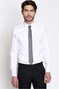 חולצת אריג EXTRA SLIM מכופתרת לגבר DEVRED - לבן