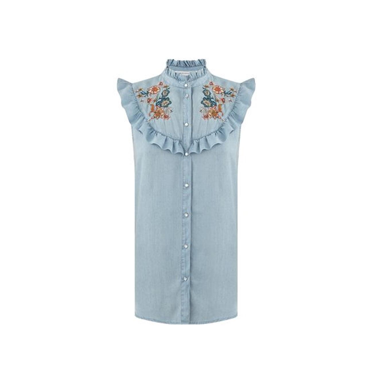 חולצת דנים מלמלה ללא שרוולים PROMOD עם רקמה פרחונית - תכלת