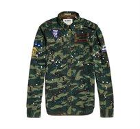 חולצת מכופתרת שרוול ארוך לגברים בצבע ירוק זית צבאי SUPERDRY Army Tropics