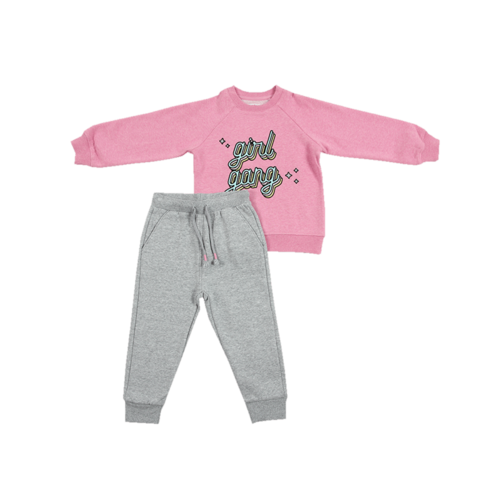 Minene חליפה (6-2 שנים) - ורוד כיתוב באמצע
