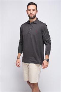 חולצת פולו שחורה שרוול ארוך לוגו אדום POLO RALPH LAUREN