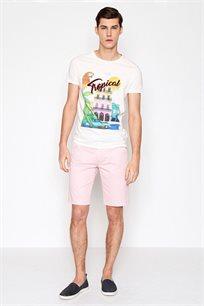 מכנסי כותנה ברמודה קז'ואל לגבר DEVRED דגם 4066098 בצבע ורוד