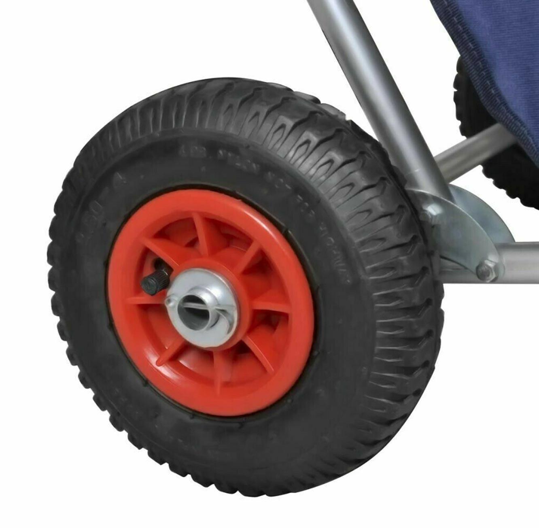 עגלת חוף מתקפלת בעלת גלגלי אוויר לנשיאת חפצים בשטח משמשת כיסא פיקניק בעל סוכך מובנה - תמונה 2