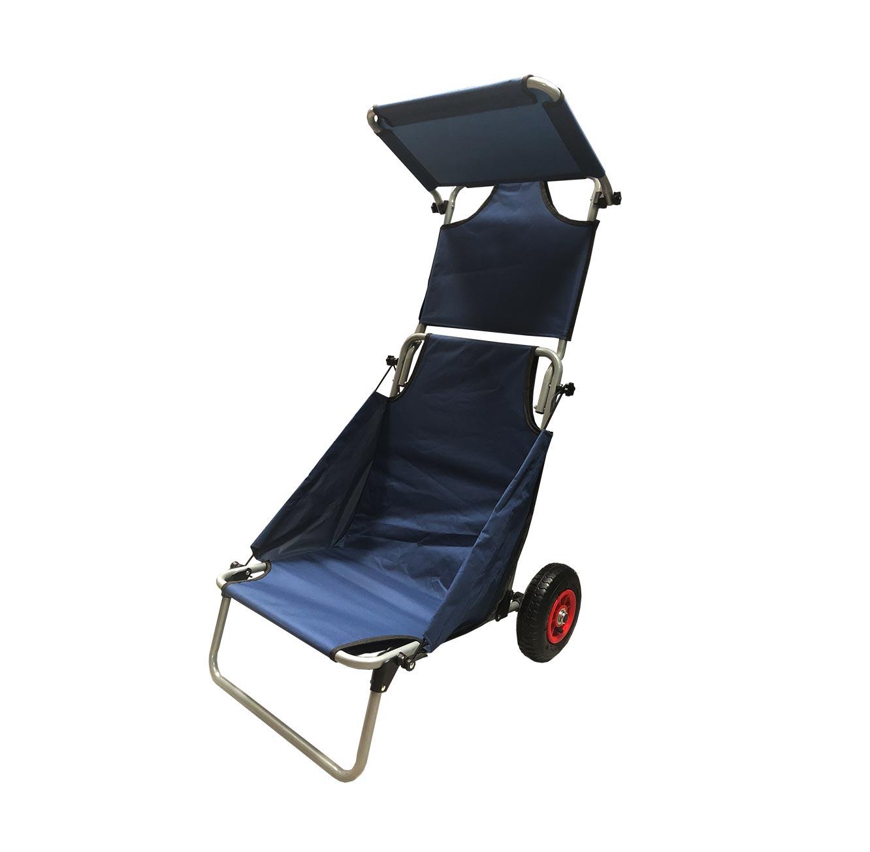 עגלת חוף מתקפלת בעלת גלגלי אוויר לנשיאת חפצים בשטח משמשת כיסא פיקניק בעל סוכך מובנה - תמונה 5