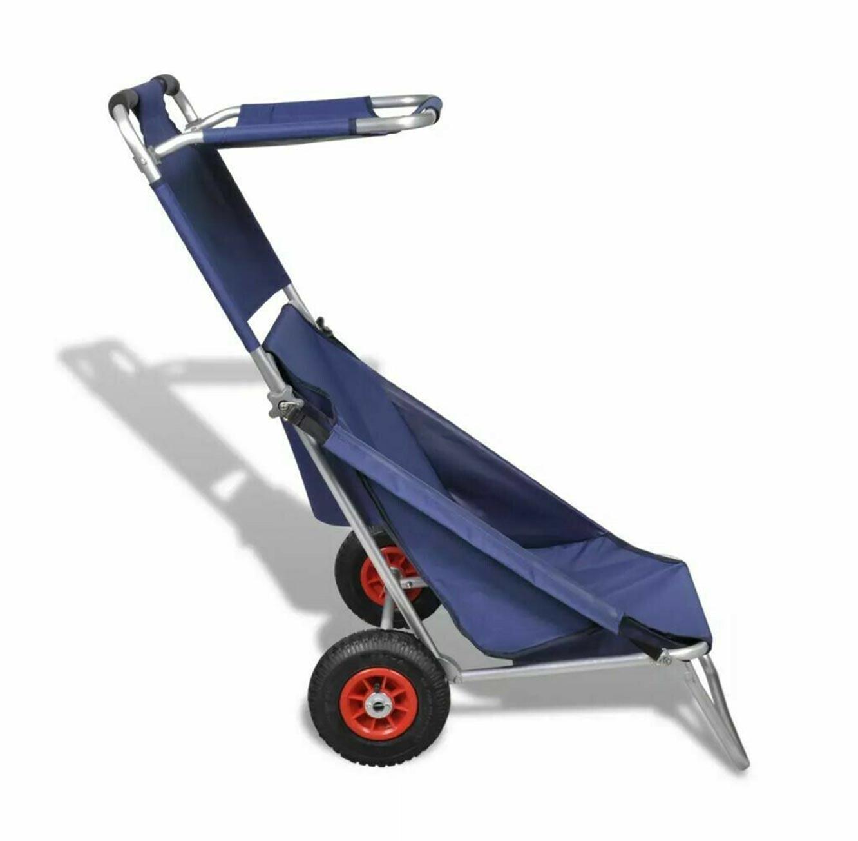 עגלת חוף מתקפלת בעלת גלגלי אוויר לנשיאת חפצים בשטח משמשת כיסא פיקניק בעל סוכך מובנה - תמונה 3