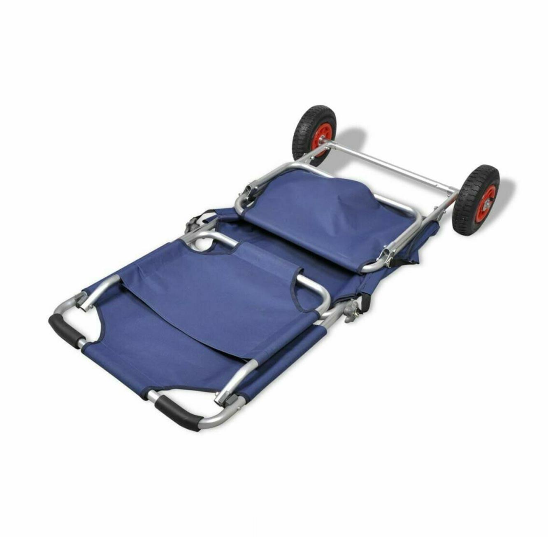 עגלת חוף מתקפלת בעלת גלגלי אוויר לנשיאת חפצים בשטח משמשת כיסא פיקניק בעל סוכך מובנה - תמונה 4