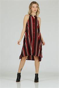 שמלה קולר מודפס אדום - קקאו