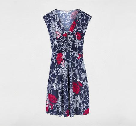 שמלה פרחונית עם רוכסן MORGAN - כחול