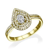 """טבעת יהלומים """"טיפה"""" 0.72 קראט זהב צהוב"""
