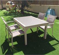 סט ישיבה לגינה ולמרפסת הכולל שולחן נפתח ו-4 כיסאות