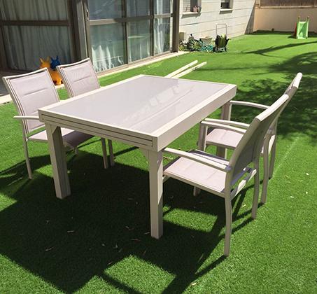 מרענן פינת אוכל מודרנית לגינה ולחצר הכוללת שולחן גדול נפתח וארבעה כסאות IB-89