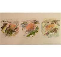 """""""נוף בצרפת"""" - טריפטיך - ציורה של פרנקל יוספה, הדפס בחתימה אישית בגודל 58X89 ס""""מ"""