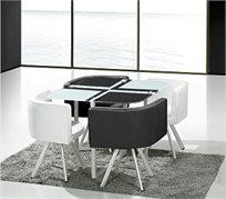 פינת אוכל בעיצוב מודרני, בשילוב זכוכית מחוסמת כוללת 4 כיסאות במגוון צבעים לבחירה