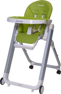 כסא אוכל מעוצב לתינוק Ivolia בריפוד דמוי עור יוקרתי וקיפול סופר קומפקטי - בירוק