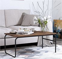 שולחן קפה מלבני נמוך לסלון בעיצוב מודרני עשוי עץ ומתכת