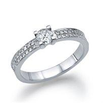 """טבעת אירוסין זהב לבן """"שארלוט"""" 0.63 קראט F/Si1"""