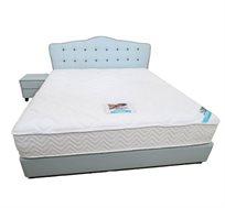 מיטה זוגית מרופדת בגוון תכלת עדין דגם קומפורט