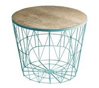 שולחן צד עגול ממתכת עם משטח עץ עליון בעיצוב מודרני גאומטרי לסלון או למשרד U DESIGN