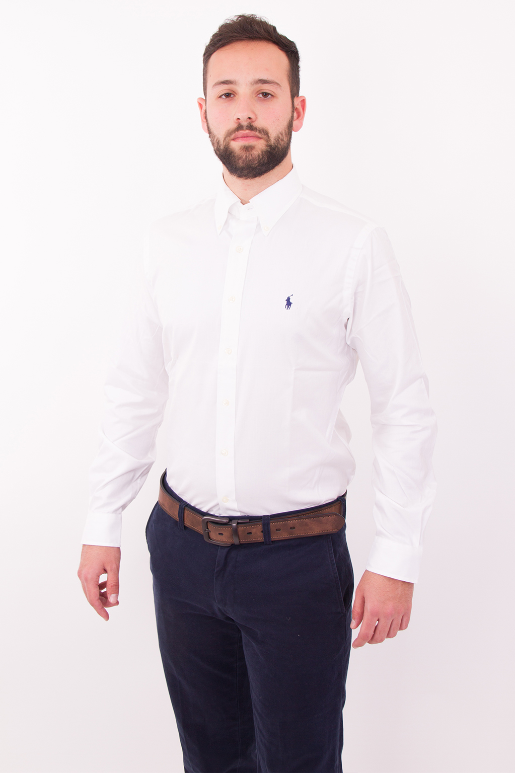 חולצה מכופתרת לבנה לוגו כחול POLO RALPH LAUREN