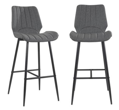 זוג כסאות בר עם רגלי מתכת בצבע אפור דגם YAIR