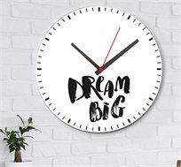 שעון עץ מודרני לבית עם כיתוב תחלום בגדול
