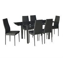 פינת אוכל מודרנית המשלבת מתכת וזכוכית וכוללת שולחן נפתח ו-6 כסאות דגם טורינו Homax