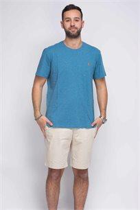 חולצת טישרט טורקיז צווארון עגול לוגו כתום POLO RALPH LAUREN