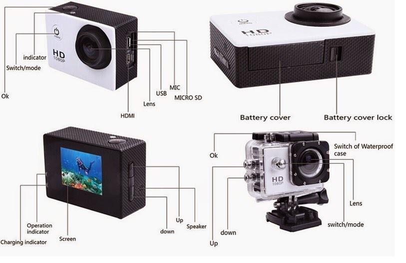 מצלמת אקסטרים FULL HD משולבת לפעילויות ספורט ופנאי + צג אחורי צבעוני ויציאת HDMI - תמונה 3