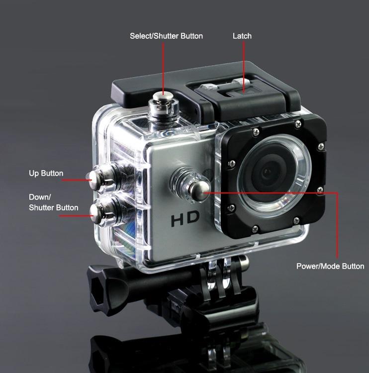 מצלמת אקסטרים FULL HD משולבת לפעילויות ספורט ופנאי + צג אחורי צבעוני ויציאת HDMI - תמונה 6