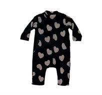אוברול פליז לתינוקות בצבע שחור לבבות מיננה