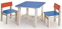 סט שולחן ו 2 כסאות מעץ מלא לילדים