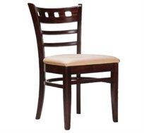 כיסא מטבח בעיצוב מודרני דגם ונציה - עשוי עץ מלא, משענת עץ מעוצבת ומושב מרופד ונוח