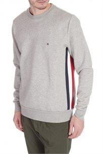 סווטשרט סגור לגבר עם לוגו קטן ופסים לצידי הגוף TOMMY HILFIGER דגם 05202501 בצבע אפור בהיר