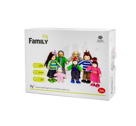 דמויות משפחה מעץ - בובות 7 נפשות לילדים - BGIFTS - תמונה 2