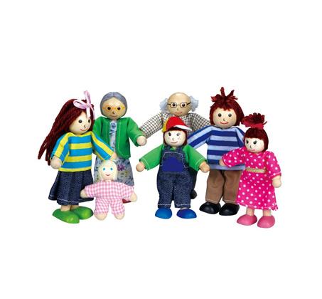 דמויות משפחה מעץ - בובות 7 נפשות לילדים - BGIFTS