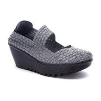 Rock Spring Brasil - נעלי פלטפורמה עם בד ארוג בצבע כסף