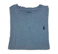 חולצת טישרט תכלת כהה שרוול ארוך צווארון עגול לוגו כחול POLO RALPH LAUREN