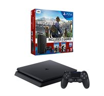 קונסולה PlayStation 4 SLIM בנפח 1TB כולל 2 בקרים  2 משחקים WATCH DOGS 1 +2 וסטנד שולחני מתנה