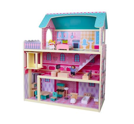 בית בובות רב קומות מעץ הכולל 2 בובות