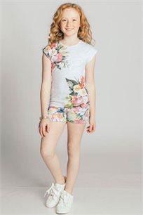 חולצת טריקו קצרה Kiwi לילדות בצבע אפור מלאנג' בהיר